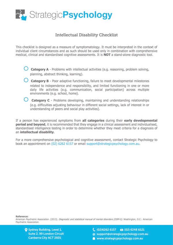 intellectual disability checklist strategic psychology canberra rh strategicpsychology com au dm-id diagnostic manual-intellectual disability pdf diagnostic manual intellectual disability 2